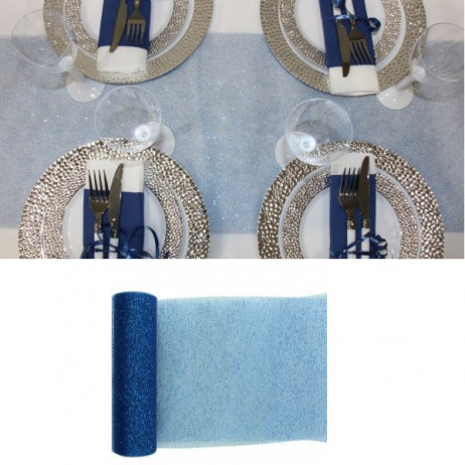 chemin de table paillet bleu marine decoration mariage. Black Bedroom Furniture Sets. Home Design Ideas