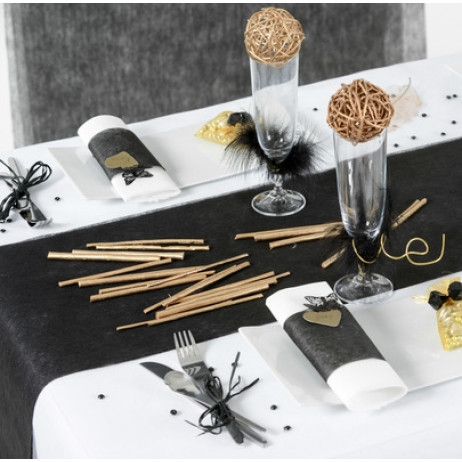 chemin de table noir en tissu intiss deco mariage badaboum. Black Bedroom Furniture Sets. Home Design Ideas