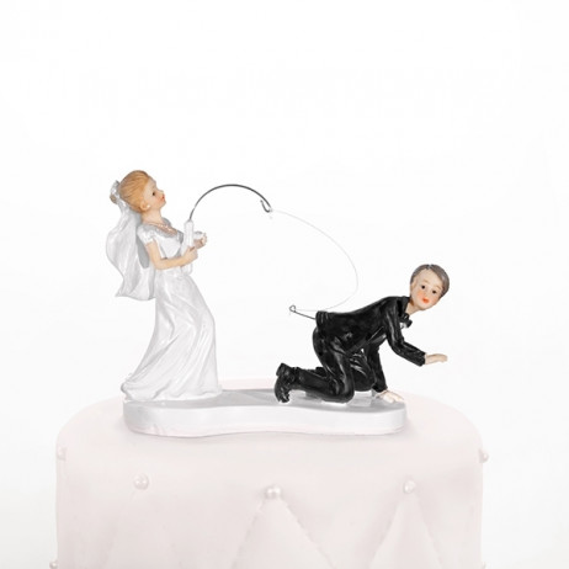 Figurine Gateau de Mariage Couple de Mariés a la Pêche