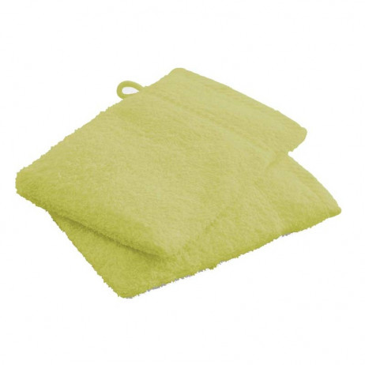 Gant de toilette Vert Anis en 100% coton x 2 pièces