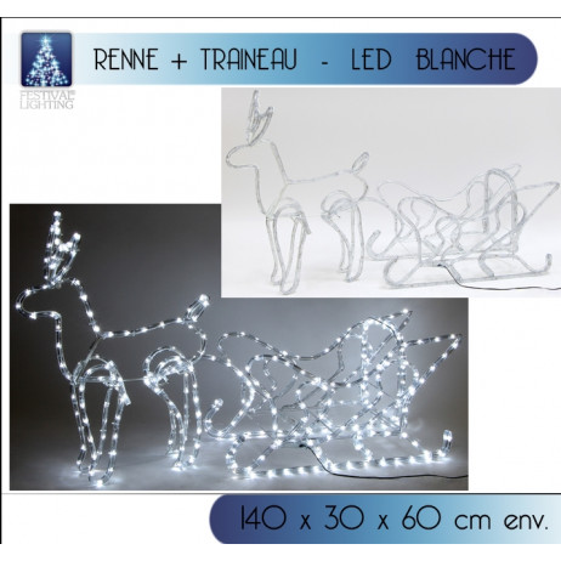 Grand renne lumineux avec son traineau 336LED