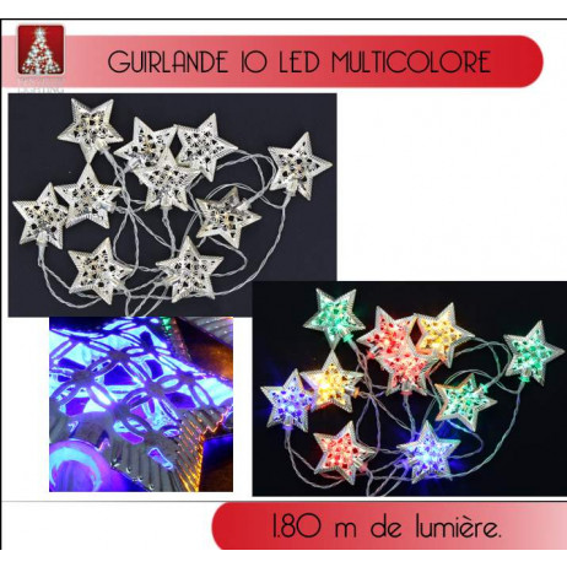 GUIRLANDE LUMINEUSE ETOILE MULTICOLORE 10 LED