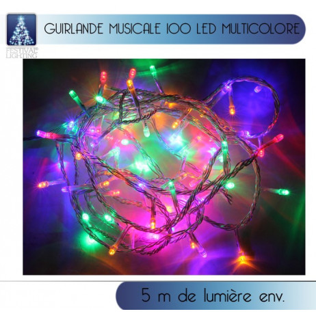 Guirlande lumineuse musicale 100 LED Multicolore