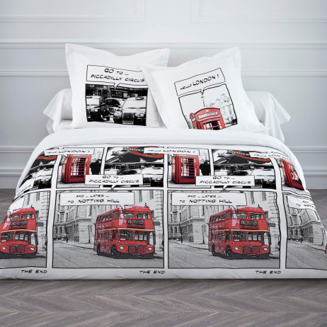 housse de couette 220x240 bd london linge de lit pas cher badaboum. Black Bedroom Furniture Sets. Home Design Ideas