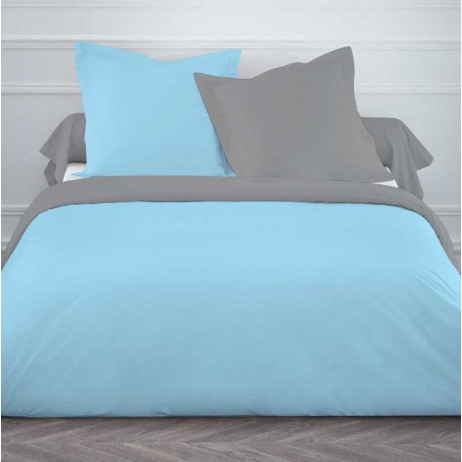 housse de couette 220x240 cm bicolore gris clair turquoise. Black Bedroom Furniture Sets. Home Design Ideas