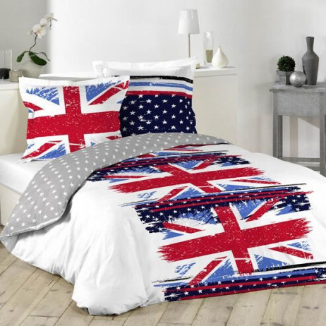 housse de couette pas cher 240x260 drapeau anglais linge de maison badaboum. Black Bedroom Furniture Sets. Home Design Ideas