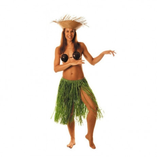 Jupe hawai en raffia Vert