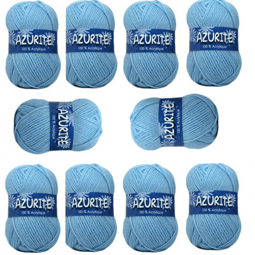 10 Pelotes de laine Azurite Acrylique Bleu Ciel