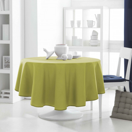 nappe de table ronde 180 cm vert anis nappe ronde anti tache badaboum. Black Bedroom Furniture Sets. Home Design Ideas
