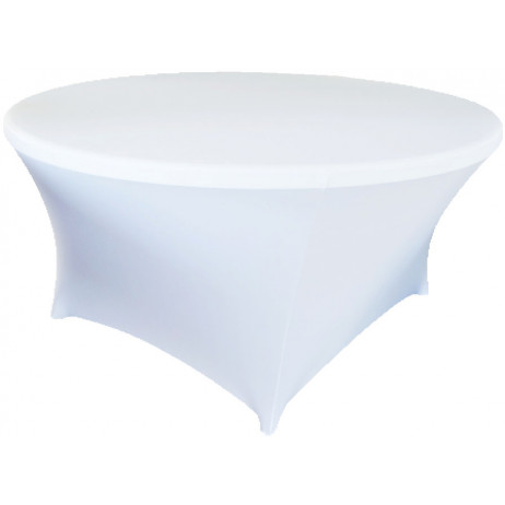 nappe ronde blanche en lycra extensible pour table 180cm. Black Bedroom Furniture Sets. Home Design Ideas