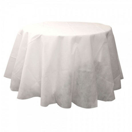 nappe ronde 180cm blanche en tissu intisse decoration mariage badaboum. Black Bedroom Furniture Sets. Home Design Ideas