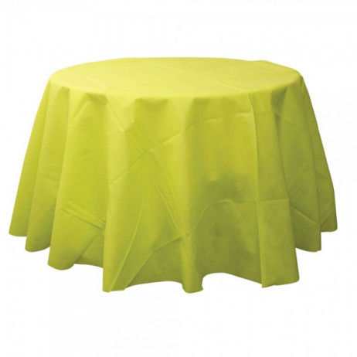 Nappe jetable ronde vert anis 240cm