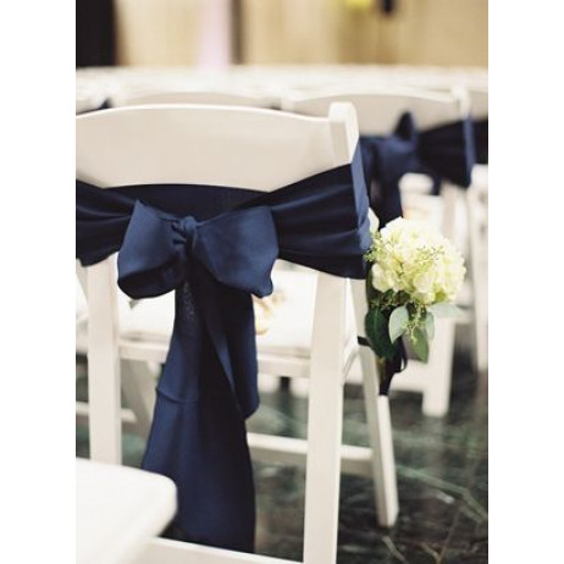 Noeud de chaise mariage en satin Bleu Marine