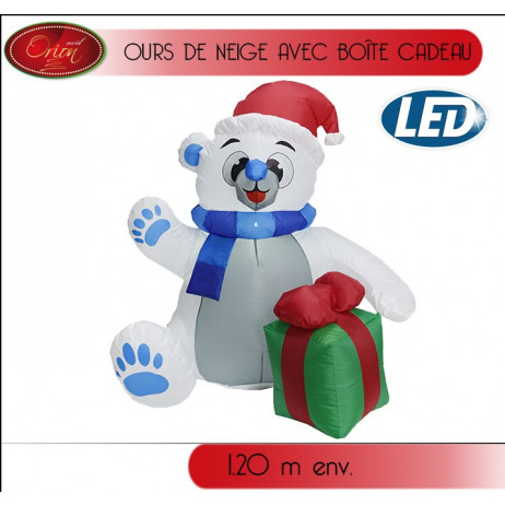 Ours gonflable lumineux 120cm