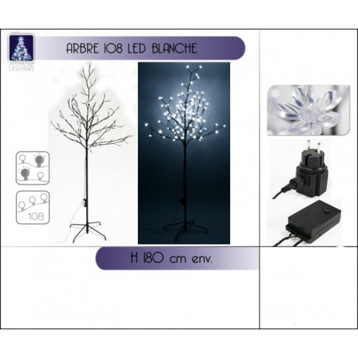 Arbre lumineux 108 LED Blanche 180cm