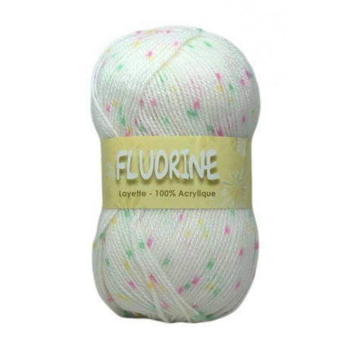 Pelote de laine chinée Fluorine Blanc Jaune Vert