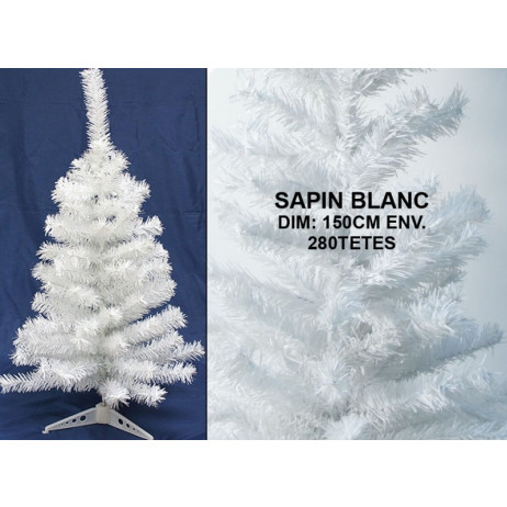 sapin blanc 150 cm 280 branches sapin artificiel pas cher. Black Bedroom Furniture Sets. Home Design Ideas