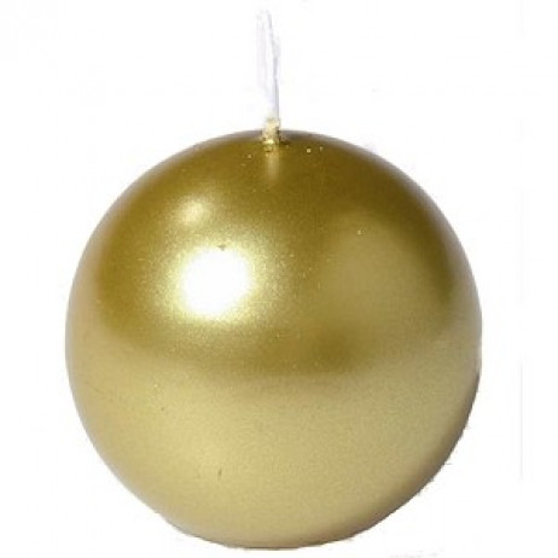Bougie boule métallisé or diam 7 cm Gappy