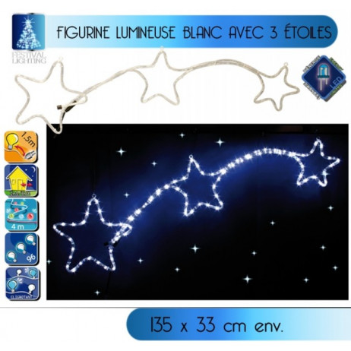 Trois étoiles lumineuse en LED 4 mètres