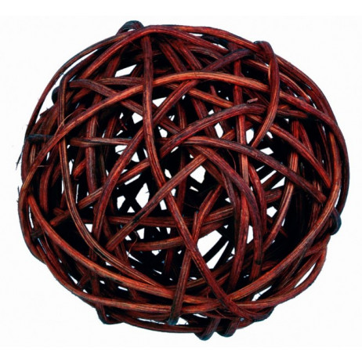 9 boules déco osier chocolat 3cm