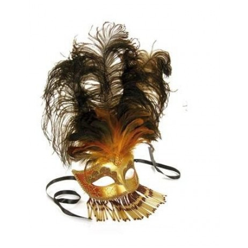 Masque vénitien loup en perle 26 cm
