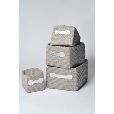 Set de 4 paniers rectangulaires gris