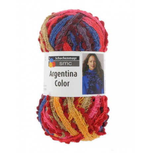 1 Pelote Argentina Color SMC Orange Bleu Rouge