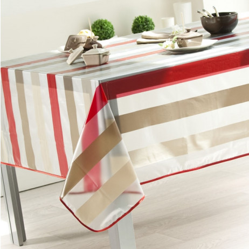 toile cir e transparente rayures sym trique nappe sur mesure badaboum. Black Bedroom Furniture Sets. Home Design Ideas