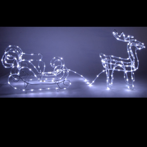 Silhouette lumineuse renne avec traineau 72 LED