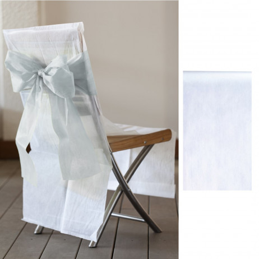 Ruban tissu intisse large 20cm x 100 m tres blanc pour noeud de chaise badaboum - Noeud de chaise espagnol ...