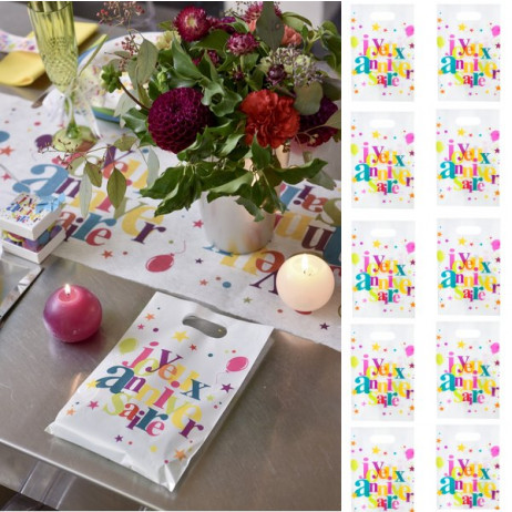 sachet a bonbon Joyeux Anniversaire Multicolore