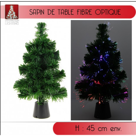 Sapin fibre optique 11 LEDS Multicolores