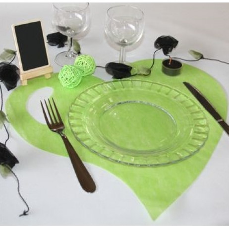Set De Table Coeur Vert Anis Set De Table Pas Cher Badaboum