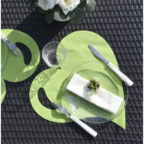 Set de table coeur vert anis