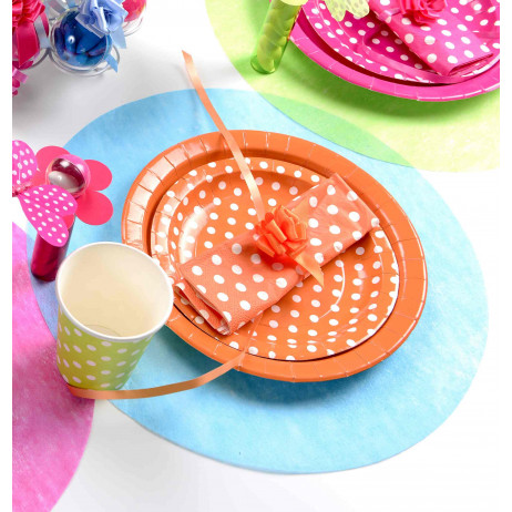 Set de table en papier intissé Turquoise rond 34cm x50