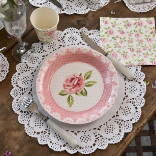 Set de table mariage dentelle blanc vaisselle jetable - Set de table jetable ...