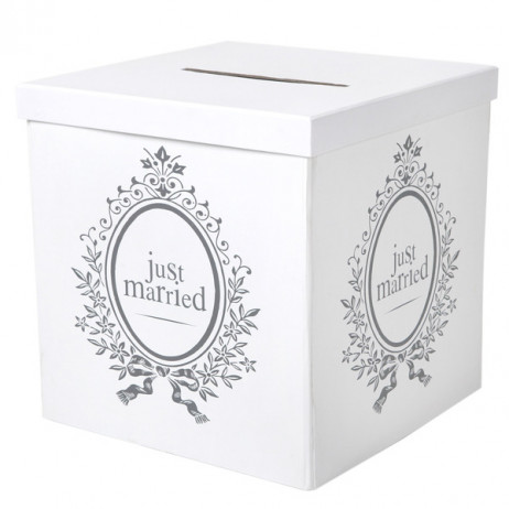 Tirelire Mariage Just Married Blanc