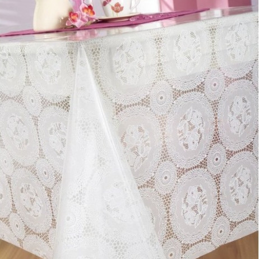 Toile translucide napperon blanc