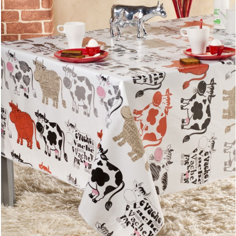 toile cir e pas cher au m tre nappe imprim vache rouge badaboum. Black Bedroom Furniture Sets. Home Design Ideas