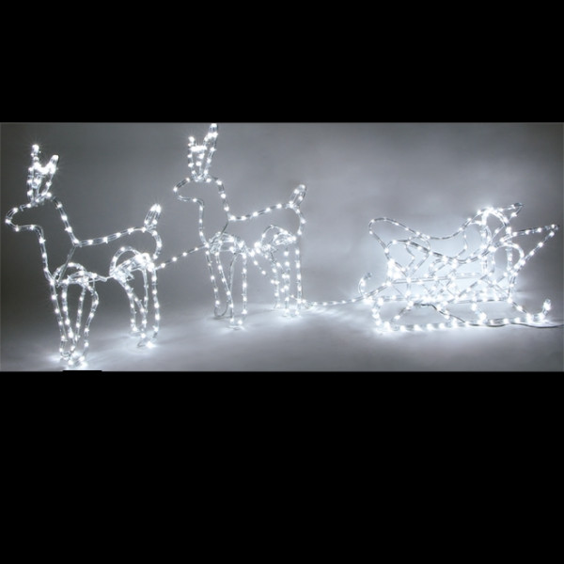Produits similaires à Silhouette Père Noel lumineux 72 LED Rouge. 2 Rennes  avec leur traineau en 3D 408 LED 9d44eb5945f3