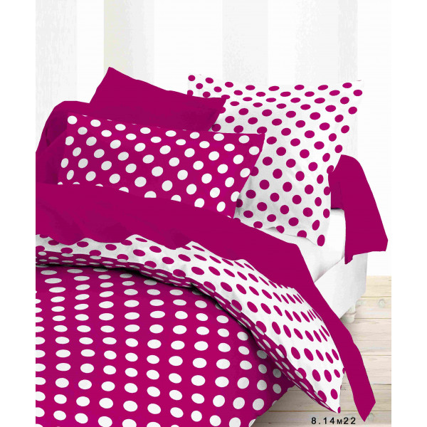 housse de couette pois fuschia 240x260cm 100 coton. Black Bedroom Furniture Sets. Home Design Ideas