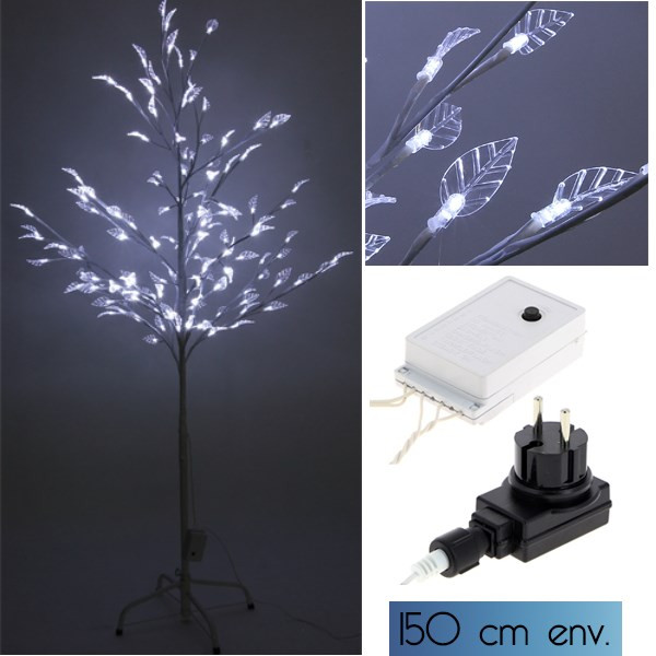 arbre lumineux 128 led blanc avec feuilles transparentes. Black Bedroom Furniture Sets. Home Design Ideas
