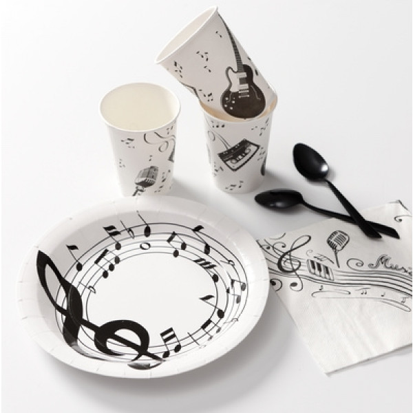 assiette en carton musique 23cm vaisselle jetable pas. Black Bedroom Furniture Sets. Home Design Ideas