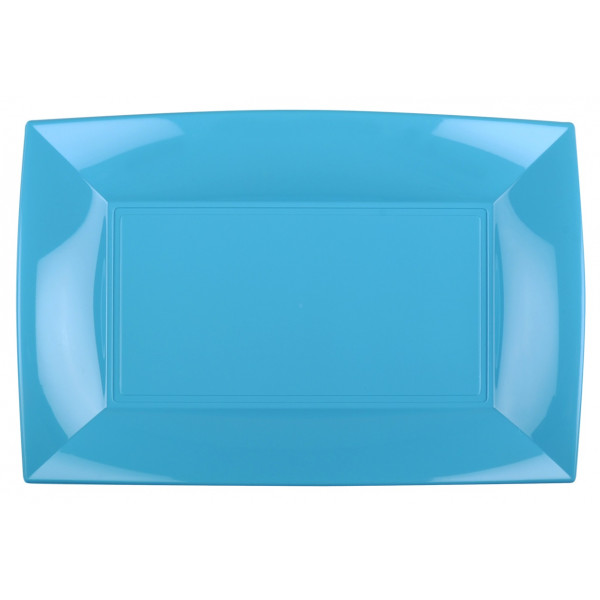 assiette en plastique rectangulaire turquoise vaisselle jetable badaboum. Black Bedroom Furniture Sets. Home Design Ideas