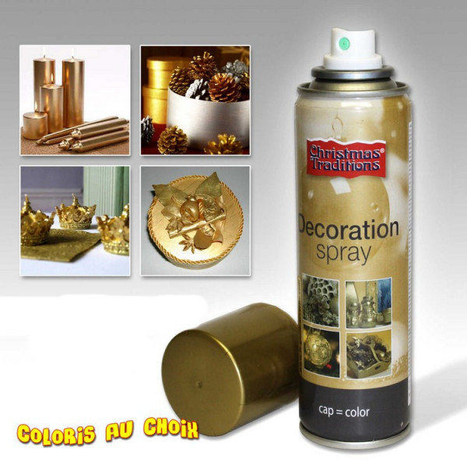 Bombe de peinture or 150ml decoration de noel pas cher for Peinture couleur argent pour bijoux