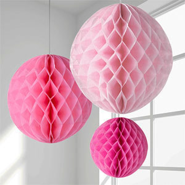 boule en papier alveole rose 30cm decoration mariage badaboum. Black Bedroom Furniture Sets. Home Design Ideas