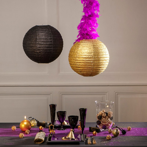boule en papier lampion noir paillet 20cm boule. Black Bedroom Furniture Sets. Home Design Ideas