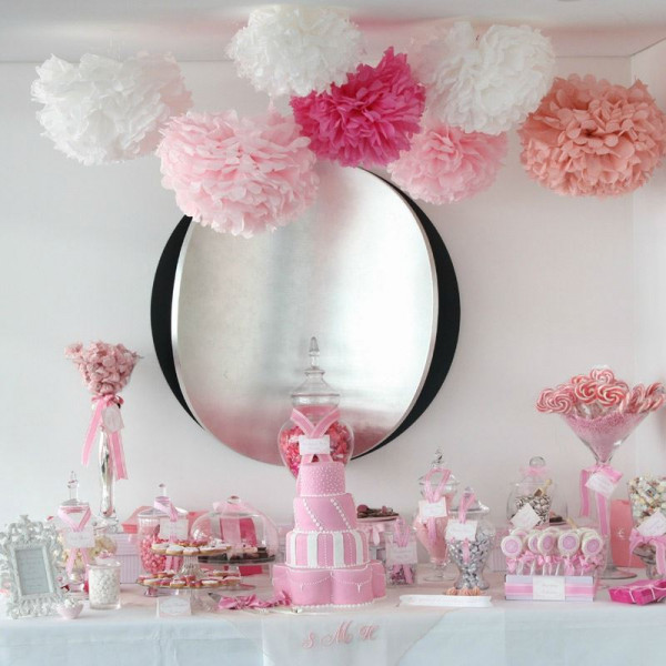 boule pompon papier de soie rose 25cm decoration mariage badaboum. Black Bedroom Furniture Sets. Home Design Ideas