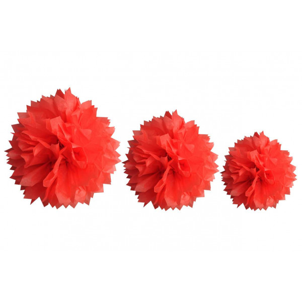boule pompon papier de soie rouge x 3 pi ces decoration mariage badaboum. Black Bedroom Furniture Sets. Home Design Ideas