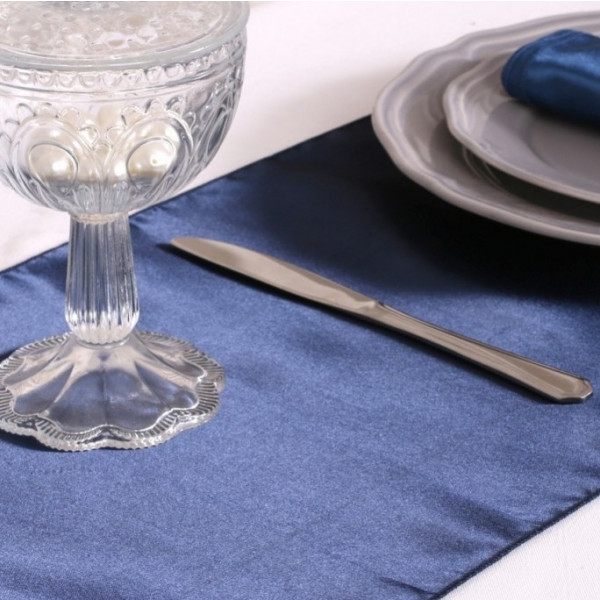 Chemin de table en satin bleu marine 36cm decoration for Chemin de table bleu